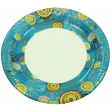 Бумажная тарелка цветная 100шт. D-180мм.