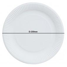 Бумажная тарелка белая 100шт. D-230мм.