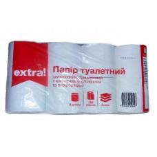 Туалетная бумага Extra! с цветным тиснением белая 3-слойные