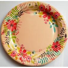 Бумажная тарелка цветная 100шт. D-230мм.