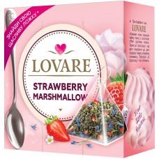 Чай Lovare Strawberry Marshmallow с кусочками ягод с лепестками цветов и ароматом земляники 15 пак